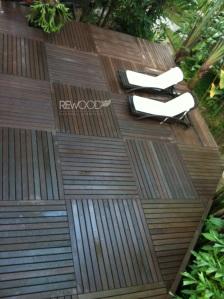 deck modular na cor café com lindo layout